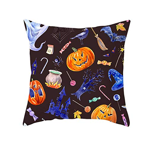 MoonHome Happy Halloween Throw Pillow Case 18 x 18 Inch Pumpkin/Owl/Bat/Witch/Castle Theme Sofa Home Decor Cotton Linen Cushion Cover