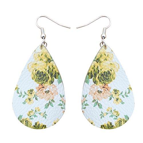 wintefei Lovely Girl Daily Makeup Flower Gift Drop Pendant Hook Earrings Ethnic Women Faux Leather Date Jewelry Yellow -