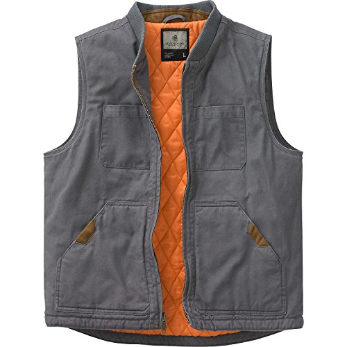 Legendary Whitetails Mens Canvas Cross Trail Vest Charcoal (Poly Fill Quilted Vest)