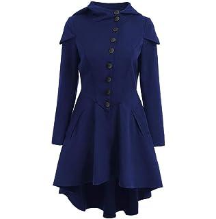 FNKDOR Manteau Femme Automne Hiver Vintage Punk Gothique Noble Manteau Mode  Chic Boutons Ourlet Asymmetric Classic 7da89e20ee0e