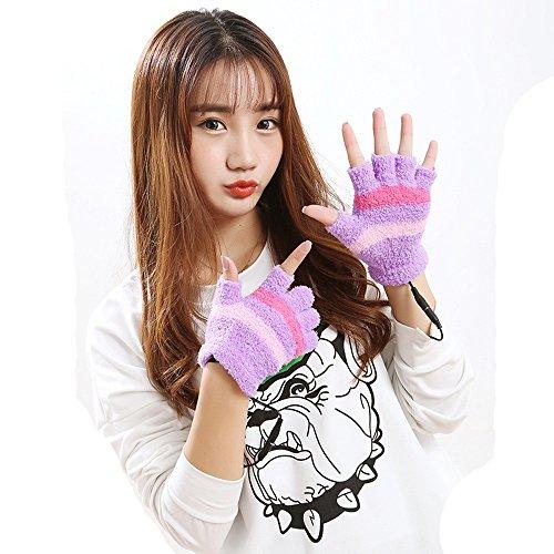 Coohole USB Heating Winter Hand Warm Gloves Heated Fingerless Warmer Mitten for Women (Purple)
