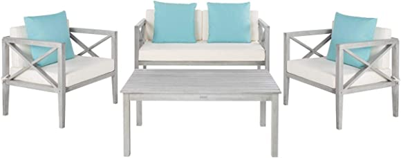Safavieh PAT7031B Collection Nunzio Wash and White and Light Blue 4 Pc Accent Pillows Outdoor Set