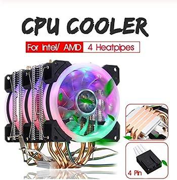 ruofeng CPU Cooler 6 Heatpipe CPU Cooler Dual Tower con RGB 4pin CPU Cooling Fan Disipador térmico para Intel 775/1150/1151/1155/1156/1366 para AMD Socket