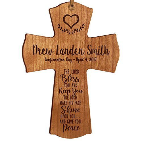 Personalized Boys Wall Cross (Personalized Baptism 1st Holy Communion Christening Gifts Custom Wall Cross The LORD Bless YOU AND KEEP YOU The LORD MAKE HIS FACE SHINE UPON YOU... Pine wood cross by DaySpring)
