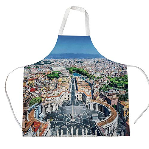 Mod Squad Fabric (Cotton Linen Apron,Two Side Pocket,Cityscape,Saint Peters Square in Rome Italian Mediterranean Europe Citscape Urban Mod Print,Multi,for Cooking Baking Gardening)