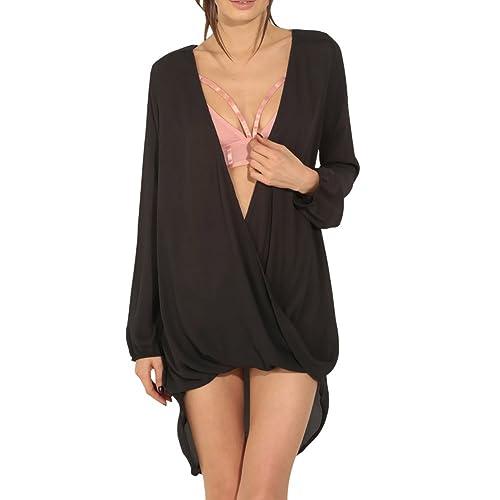 Eliacher ocio de moda con cuello en V salvaje falda larga de la camisa 6761