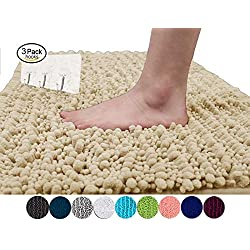 Yimobra Luxurious Bathroom Rug Plush Texture Non-Slip High Absorbent Soft Bathroom Shower Rugs 31.5 X 19.8 inch Beige (Presented Wall Hooks 3 Pack)