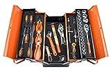 KSEIBI 74-Piece Mechanics Tool Set with 5 Compartments Metal Tool Box