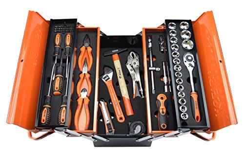 KSEIBI 74-Piece Mechanics Tool Set with 5 Compartments Metal Tool Box by KSEIBI