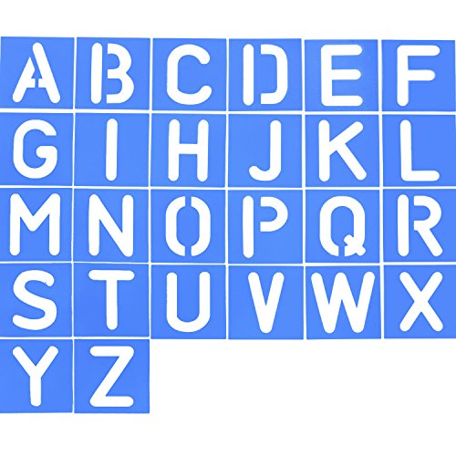Shappy 26 Pieces Plastic Letter Stencil Alphabet Stencils Set for Painting Learning DIY, Blue