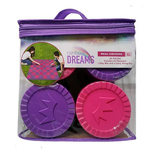 Giant Mega Checkers Game Set Outdoor Playmat Carry Bag Unicorn Rainbow Theme