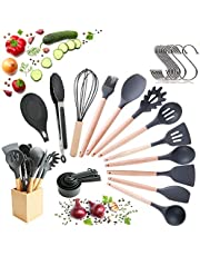 23 Pcs Silicone Utensils With Wooden Handle