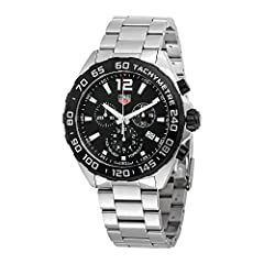 - With Manufacturer Serial Numbers - Black Dial - Date Feature - Chronograph Feature - Tachymeter Scale Feature - Battery Operated Quartz Movement - Guaranteed Authentic - Manufacturer Box & Manual - Brushed Stainless Steel Case & Bra...