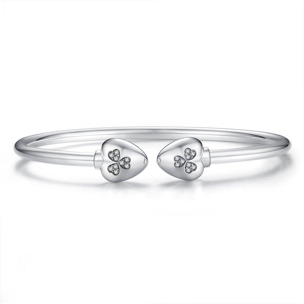 Glamulet Jewelry - 17 cm Heart Clover Bangle Bracelet -- 925 Sterling Silver -- Fits Pandora Charm by Glamulet (Image #2)