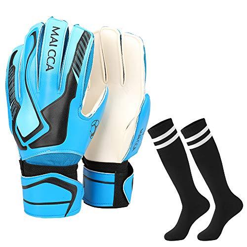 Villavivi 2 Artículos De Portero: Guantes De Portero De Fútbol con Protectores para Dedos + Calcetines De Fútbol para…