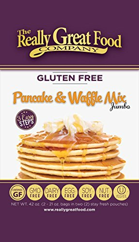 Really Great Food Company - Gluten Free Pancake & Waffle Mix - 16 ounce box - No Nuts, Soy, Eggs, Dairy - Vegan, Kosher, Non-GMO and Plant Based