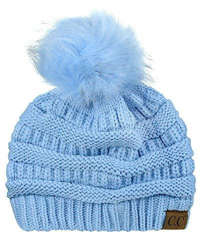 NYFASHION101 Exclusive Soft Stretch Cable Knit Faux Fur Pom Pom Beanie Hat - Pale Blue -
