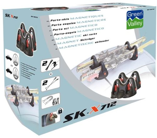 Green Valley 812712B Magnetic Ski Carrier with mit Anti-Theft Protection for up to 3 Pairs of Skis