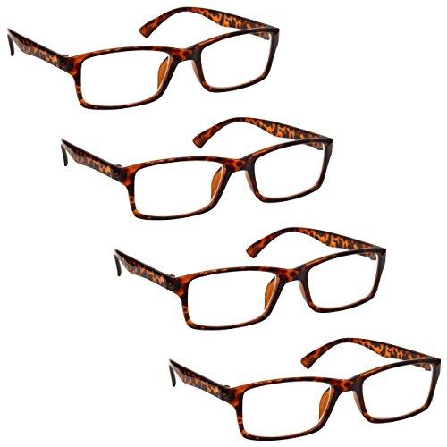 The Reading Glasses Company Brown Tortoiseshell Readers Value 4 Pack Designer Style Mens Womens RRRR92-2 - Designer Tortoiseshell Glasses