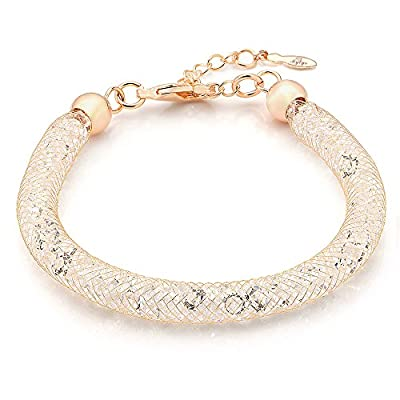 Mytys 18k Rose Gold Mesh Chain Stardust Charm Bracelet Cubic Zirconia Net Zirconium Women Jewelry