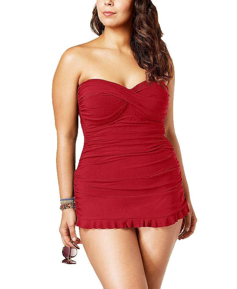 Profile by Gottex Women Plus Tummy Control Ruched Ruffle Swimdress