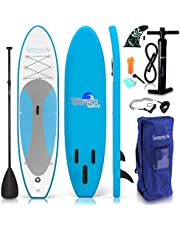 Serene Life SereneLife Inflatable Stand Up Paddle Board (6 Inches Thick) Universal SUP Wide Stance with Bottom Fin for Paddling and Surf Control, Non-Slip Deck, Youth and Adult (Marine Blue)