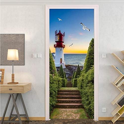 Etiqueta De La Puerta Pvc Impermeable Escalera Faro De Mar Papel Pintado Salón Dormitorio Cartel Autoadhesivo Etiqueta 3D 77 * 200cm: Amazon.es: Bricolaje y herramientas