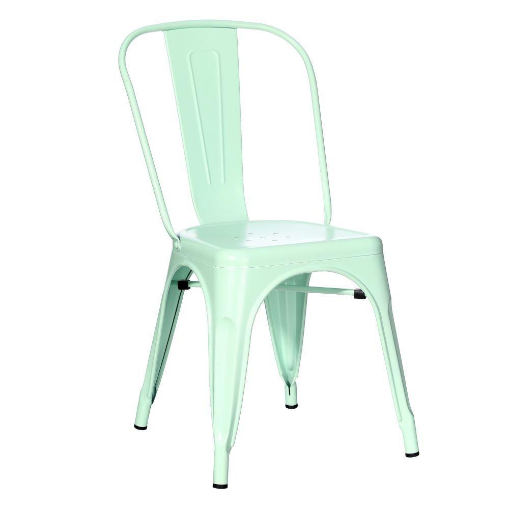 Chaise Vert Métal Dallas industriel 45 x 52 -50 x 85 cm
