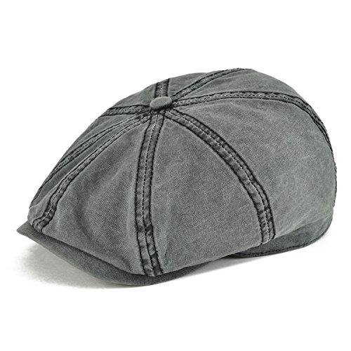 VOBOOM 100% Washing Cotton Newsboy Caps Classic 8 Pannel Retro Cabbie hat (S/M=57-58cm=7 1/8-7 1/4, Black) -