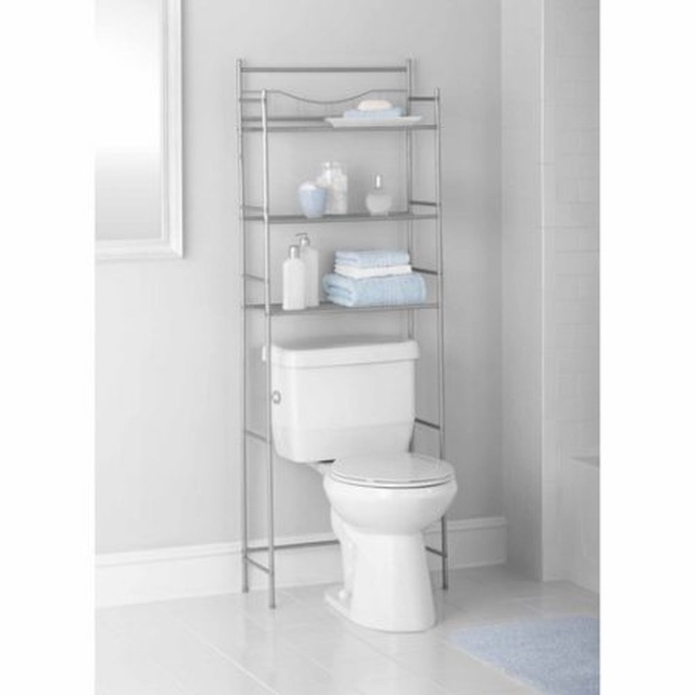 Amazon.com : Mainstays 3-Shelf Bathroom Space Saver, Satin Nickel ...