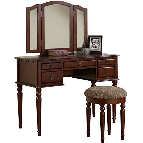 Vanity Set with Mirror and Stool Vintage Antique Makeup Dresser for Women Table Drawer Organizer Bedroom Furniture… (Cherry) (Makeup Sale For Vanities)