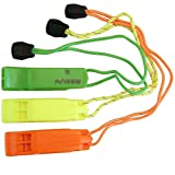 (3 Pack)Safety Whistle Double Tube Loud All Weather for Outdoor Hiking Camping Climbing Boating with Lanyard by Aneew, Emergency Survival Use(Yellow+Orange+Green)