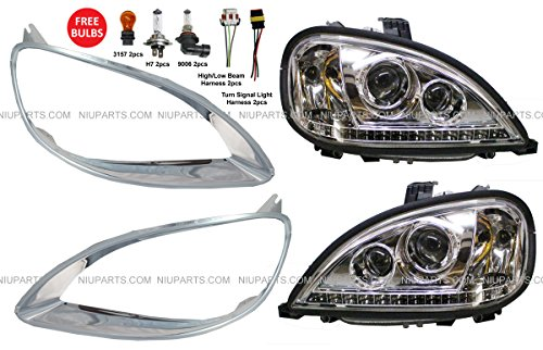 Freightliner Columbia Headlight with LED and Bezels Driver & Passenger Side