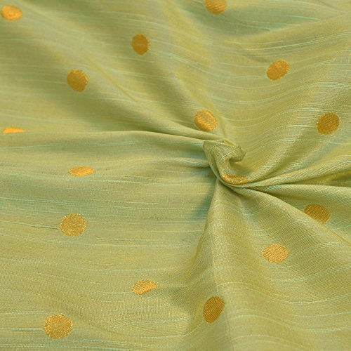 and Golden Polka Pattern Brocade Silk Fabric-8126 For Party Wear, Festival, Dress Material (1 Yard) ()