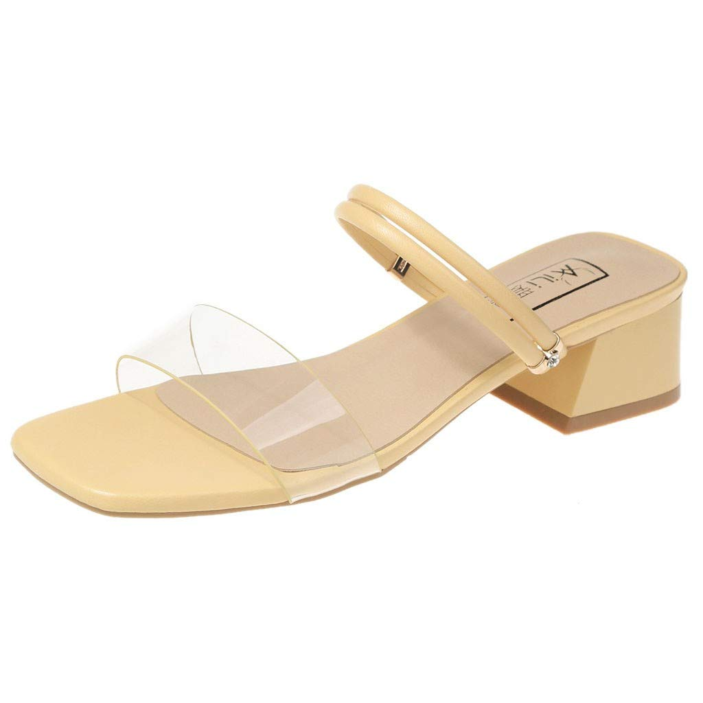 Fastbot Women's Summer Sandals Open Toe Casual Comfort Thick Two Wear Square Toe Roman Shoes Yellow