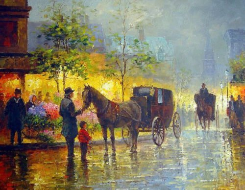 100% Hand Painted sunset Paris street scene with carriages and People from work Canvas Oil Painting for Home Wall Art by Well Known Artist, Framed, Ready to Hang