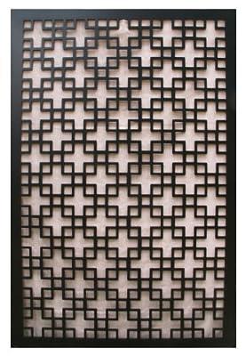 Acurio Chinese 1 Black Vinyl Lattice Decorative Privacy Panel