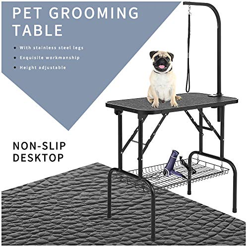LEIBOU Pet Dog Grooming Table Heavy Duty 32'' Professional Foldable Grooming Table with Arm & Noose & Mesh Tray for Dog Cat Pet Grooming (32