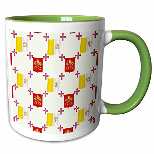 3dRose 777images Country Patterns - The flag and Coat of Arms of the Vatican City State on a light creme background - 15oz Two-Tone Green Mug (mug_114180_12)