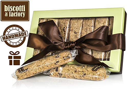 The Biscotti Factory Oatmeal Chip (whole wheat) Biscotti Gift Box, Individually Wrapped Biscottis, Hand Crafted, Gourmet Gift Basket, Father's Day Gift, Certified Kosher, No Added - Biscotti Chip Chocolate