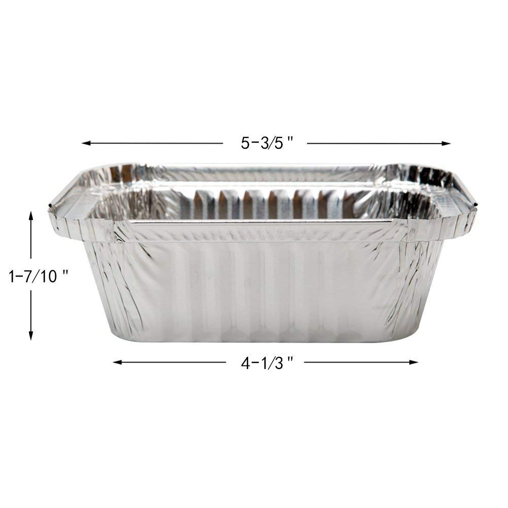 XIAFEI New Disposable Durable Aluminum Oblong Foil Pan, Take-Out Pans, Pack of 50 with PET Plastic Lids by XIAFEI (Image #2)