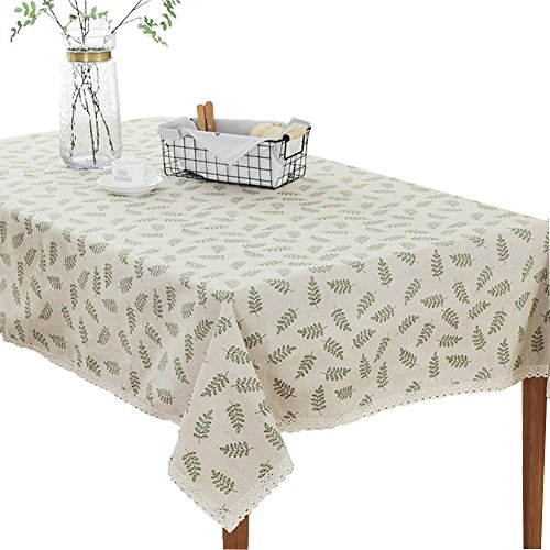 Bringsine Fashion Classic Square Cotton Linen Lace Leaves Tablecloth, Washable Tablecloth Vintage Dinner Picnic Table Cloth Home Decorative Cover Assorted Size