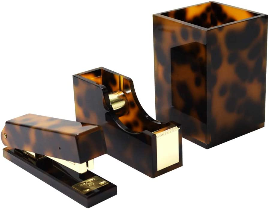 "Tortoise Desk Office Supplies Set 3 Packs Desktop Organization Set with Pen Holder Tape Dispenser Stapler 1 Box Staples and 1 1""Adhesive Tape for Office Home Collection"