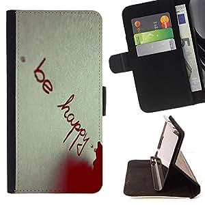BullDog Case - FOR/HTC One M8 / - / BE HAPPY /- Monedero de cuero de la PU Llevar cubierta de la caja con el ID Credit Card Slots Flip funda de cuer