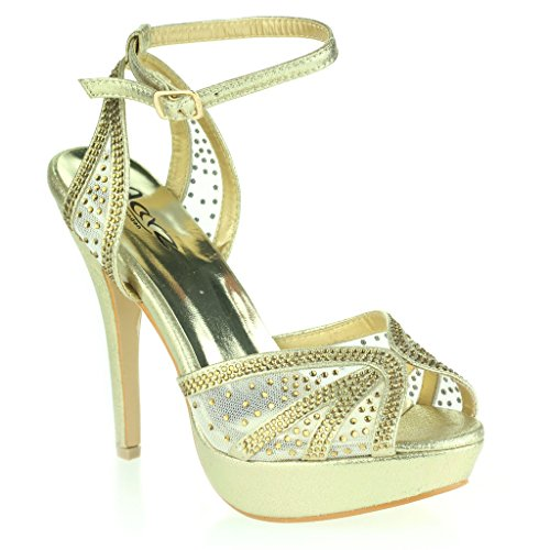 Women Ladies Diamante Evening Wedding Party Prom Bridal High Heel Ankle Strap Peeptoe Sandals Shoes Size Gold D6O1fe