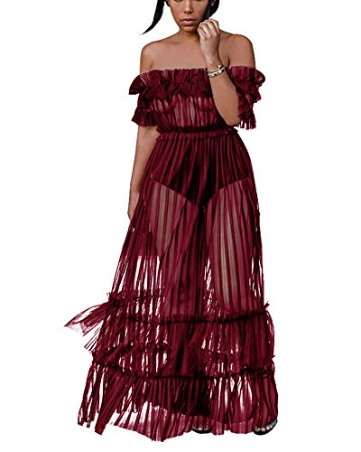 Sprifloral Women Ruffled Off The Shoulder Cover Up Sheer Long Dress Burgundy -