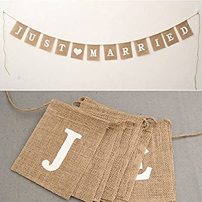 "Haperlare ""Just Married"" Banner Vintage Burlap Banner Linen Flags Decorative Square Banners for Wedding Garland Photo Booth Props Wedding Decorations 12pcs/set"