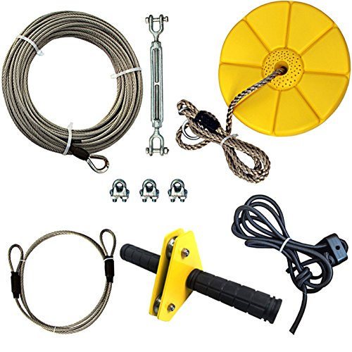 (iZipline 95 Feet Zip line Kit with Seat and Bungee Brake,Speed Trolley Pulley with Grip Handle Bar,Zipline kit for Kids and Adults Backyard Playground Adventures Diamond Yellow)