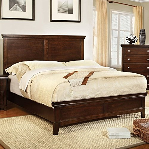 Furniture of America Pasha Platform Bed, California King, Brown Cherry Finish Cherry Finish Cal King Bed