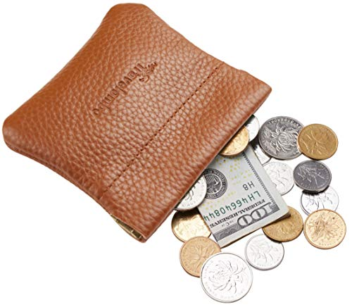 (Travelambo Leather Squeeze Coin Purse Pouch Change Holder For Men & Women (Pebble Brown Deep))